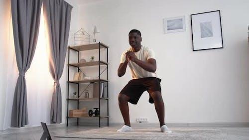 Home Training Happy Black Man Enjoying Sport