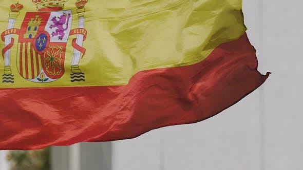 Thumbnail for Spanish State Flag Rojigualda Fluttering, National Symbol of Country, Patriotism