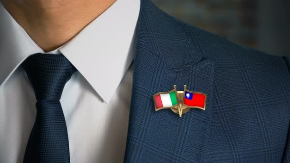 Thumbnail for Businessman Friend Flags Pin Italy Taiwan