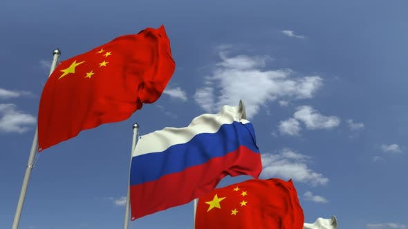 Thumbnail for Flags of Russia and China Against Blue Sky