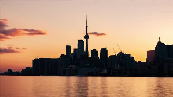 Thumbnail for Toronto, Canada, Timelapse  - Close up of the skyline from Day to Night
