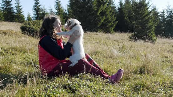 Thumbnail for Teenage Girl Is Sitting with a Cute Pets in Nature in the Woods or Park . Happy Dog