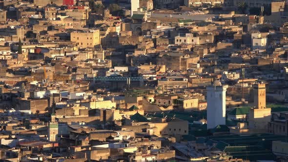 Thumbnail for Panorama der alten Medina in Fes bei Sonnenuntergang, Marokko