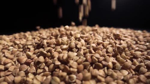 Buckwheat Groats Are Poured Into a Pile of Buckwheat