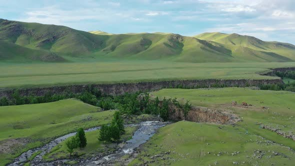 Aerial View of Orkhon Waterfall in Mongolia