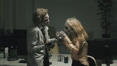 Zombie Man Gifting Present to Zombie Girlfriend