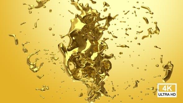 Flüssige Goldkugel Splash Kollision 4K