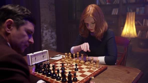 Girl Play Chess