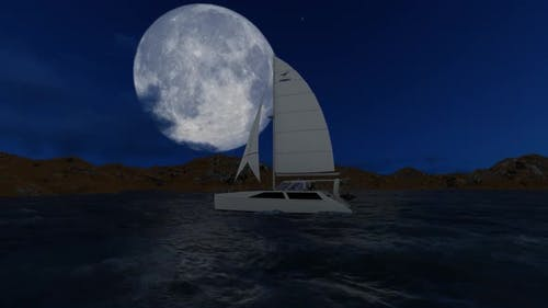 Sailboat is sailing at night