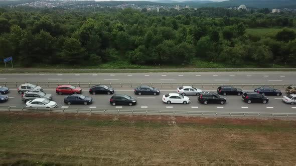 Thumbnail for Top Down View of Rush Hour Traffic Jam Highway