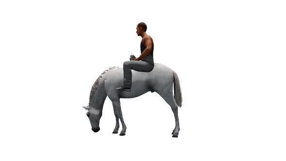 Man Riding a White Horse