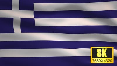 8K Greece Windy Flag Background