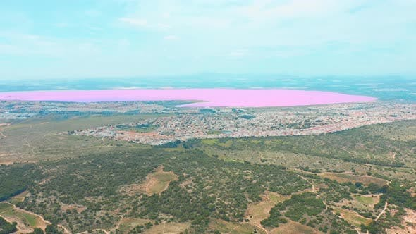 Panoramic Aerial View Video of Las Salinas, Bright Color Famous Place Pink Lake. Coastline of