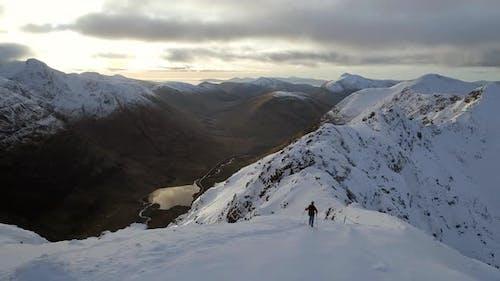 Mountain Climber and Snowy Ridge