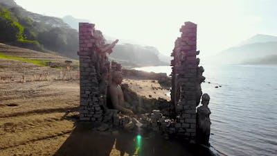 Buddha statues, Kadadora Temple Kothmale, Srilanka Temple. Temple in kothmale dam. Underwater temple