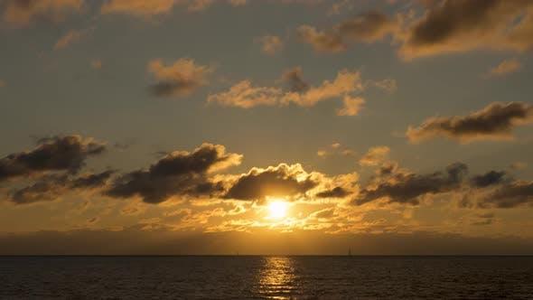 Timelapse Golden Sunset on the Coast