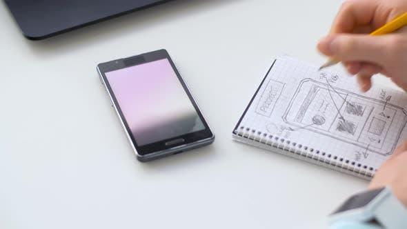Thumbnail for Handzeichnung Sketch von Smartphone Interface Design 19