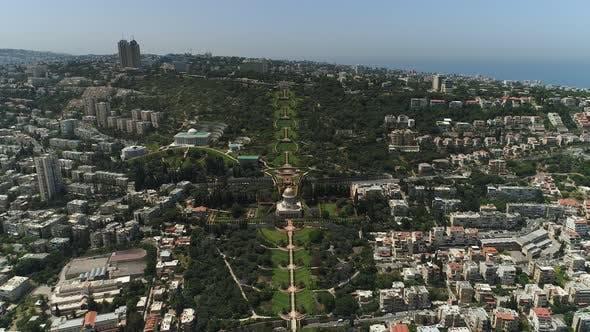 Aerial view of Baha'i Gardens