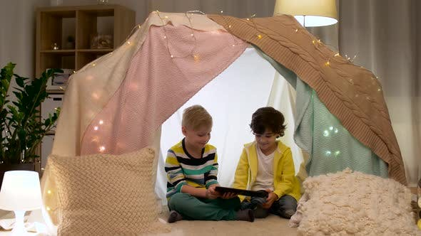 Thumbnail for Little Boys with Tablet Pc in Kids Tent at Home