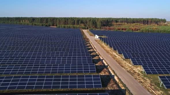 Thumbnail for Aerial Drone Footage, Flight Over Solar Panel Farm, Renewable Green Alternative Energy