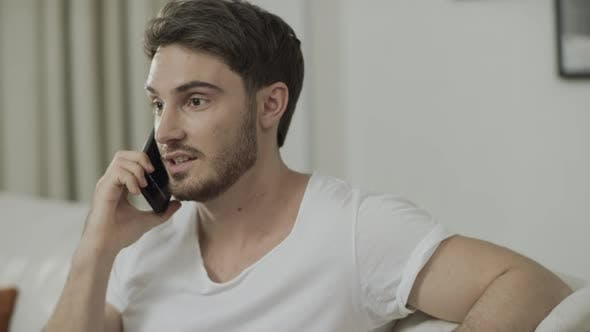 Thumbnail for Happy Business Man Calling Phone at Home. Success Person Enjoy Business Victory
