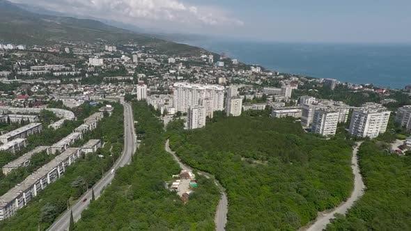 Flying over coastal city in Crimea