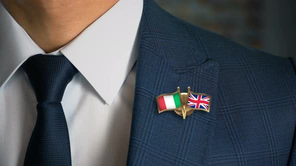 Thumbnail for Businessman Friend Flags Pin Italy United Kingdom