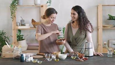 Women Making Natural Scrub Together