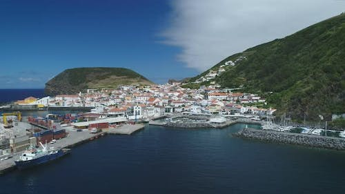 Aerial View Of Small Seaside Village In Azores