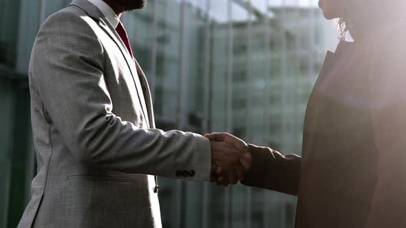 Thumbnail for Closeup Shot of Two Business People Shaking Hands