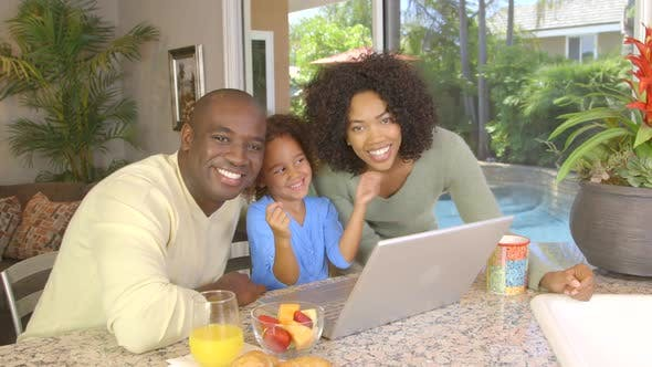 Thumbnail for Portrait of African American family  using laptop