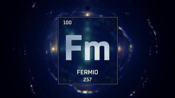 Thumbnail for Fermium as Element 100 of the Periodic Table on Blue Background in Spanish Language