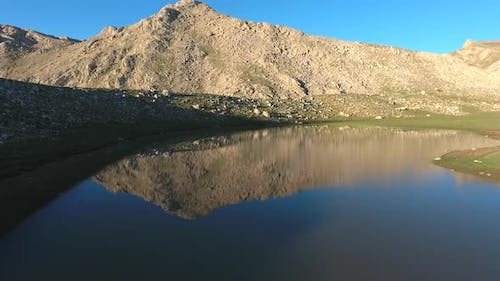 High Altitude Mountain Lake Topography in Morning