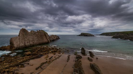 Thumbnail for Dramatic View of Playa De La Arnia, Cantabria, Spain