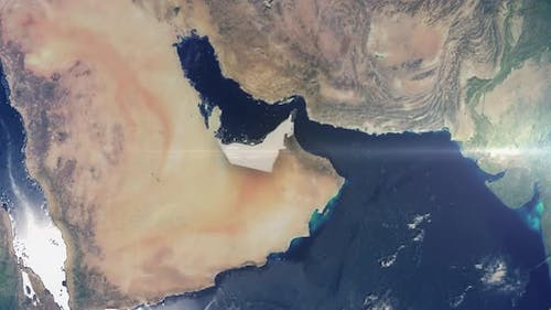 Realistic Earth Zoom Highlight Country United Arab Emirates