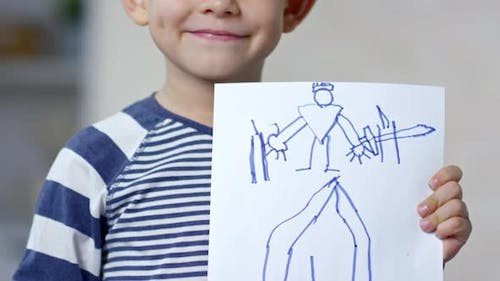 Proud Boy Showing His Drawing
