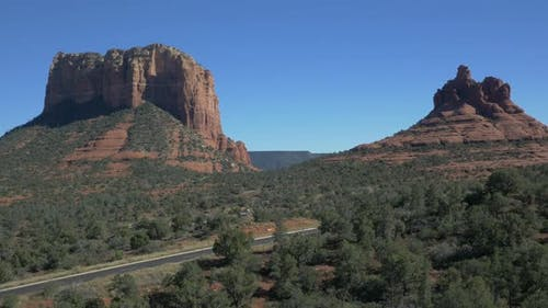 Aerial of Courthouse Butte with Bell rock