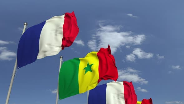 Many Flags of Senegal and France