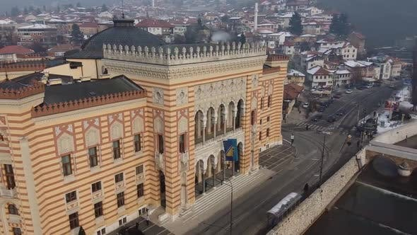 Thumbnail for Aerial View Of Sarajevo City, Sarajevo City Hall 4 - Clips