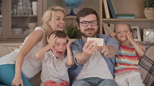 Family Grimacing for Selfie