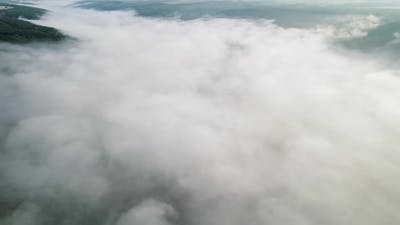 Aerial Drone View on Rainforest Jungle Covered with Mist