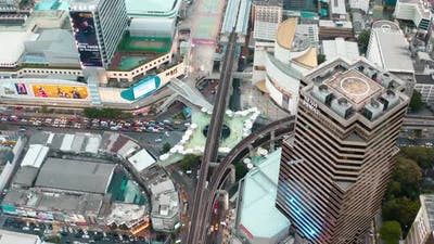 Skywalk Aerial View in MBK, Bangkok, Thailand