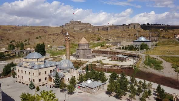 Kars Old City Town View with Historic Mosques, Castle, Turkey