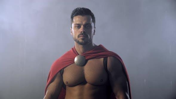 Thumbnail for Spartan Warrior Posing Under Rain