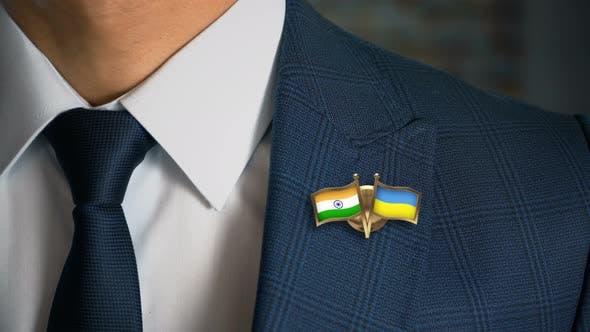Thumbnail for Businessman Friend Flags Pin India Ukraine