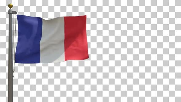 France Flag on Flagpole with Alpha Channel