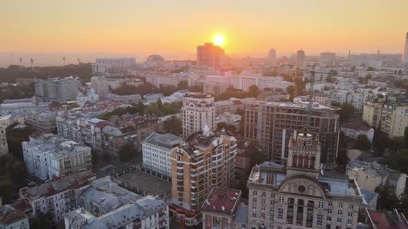Thumbnail for Ukraine, Kyiv : City Center in the Morning at Sunrise. Aerial View. Kiev.