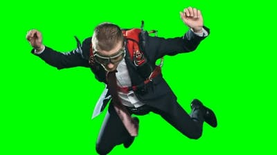 Assured Businessman Parachuting