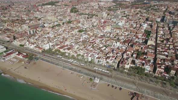 Thumbnail for Aerial Shot of Barcelona and Coast, Spain