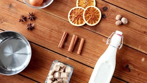 Pot, Ingredients and Spices for Eggnog Making